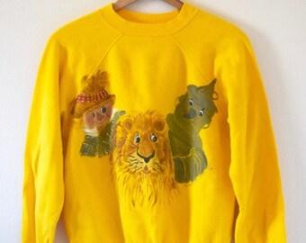 SUMMER SALE / 20% off Vintage 80s Friends of Dorothy Hand Painted Sunflower Yellow Raglan Sweatshirt