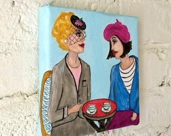new..PARIS LADY PAINTING, hand painted, 6 in X 6 in, beret, veiled hat, cafe, Parisian blue, Paris, fuschia, home decor, artwork, light blue