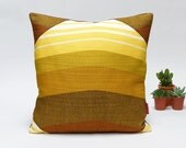"Mid Century Modern Retro pillow cover - 40x40 / 16x16"" - Handmade with Love from Vintage Fabrics in yellow and brown"