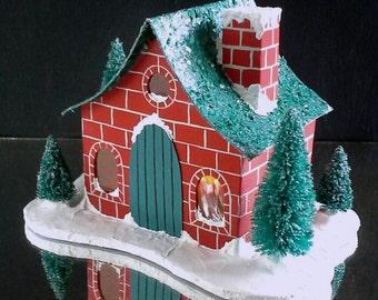 Handpainted Red Brick & Teal Blue Putz House Miniature Mini House Bottle Brush Tree German Glass Glitter Mica