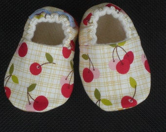 NEW, Soft Sole Baby Shoes, Crib Shoes, Baby Girl, baby Shower, Cherries, Baby Shoes, Baby Slippers, Red, Pink, Gold Squares