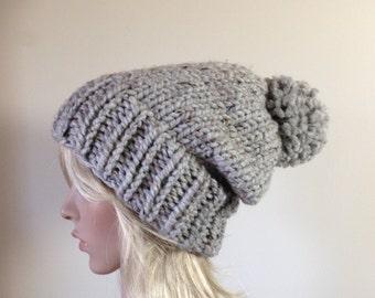 Slouchy Knit Hat,  Beanie, Chunky Pom Pom, gray, Customize