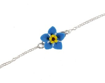 Blue Forget Me Not Sterling Silver Anklet or Bracelet - Forget Me Not Ankle Bracelet Jewelry