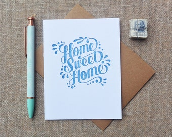 Letterpress Greeting Card - Housewarming Card - Warm Thoughts - Home Sweet Home - WTH-118