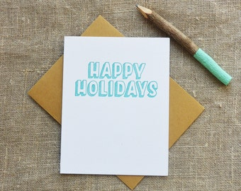 Warm Thoughts Letterpress Holiday Card - Happy Holidays - WMH 381