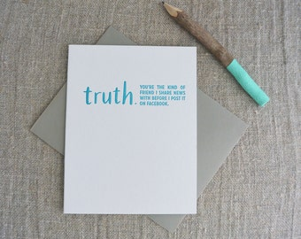 Letterpress Greeting Card - Friendship Card - TRUTHnote - More than a Facebook Friend - TRN-001