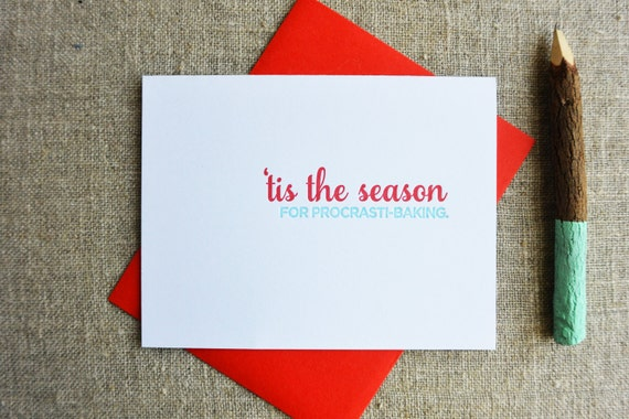 Letterpress Holiday Card - Procrastibaking - NQH-171