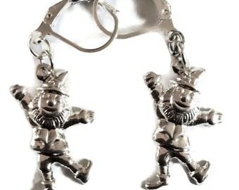 Leprechaun earrings Irish silver plated brass handmade earrings for pierced ears nickel free