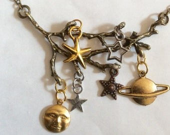 Midnight forest bronze tone moon star necklace