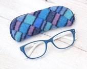 Felted Wool Glasses Case Colorful Patchwork Glasses Case in Blues and Turquoise