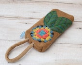 Boiled Wool  Wristlet In Camel  With Turquoise Orange and Yellow Granny Square Flower