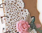 """Baby Shower Guest Book, Well Wishes and Advise, """"Feathers and Lace"""""""