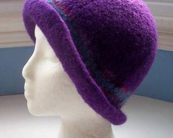 JULY SALE Hand knitted boiled wool felt hat, Downton style,purple with light blue and burgundy trim.