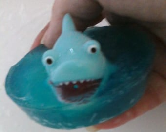 Shark Soap  Squirting Vinyl Shark in a Blue Soap,Swim Party, Under the Sea Party, Shark Party,Pool Party Favor,Beach Party Favor