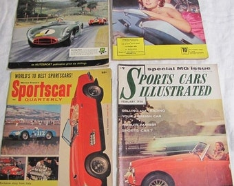 Vintage Sports Car Magazine Lot, 1950's Sports Car Magazine, Vintage Racing Magazines, Stirling Moss, Le Mans, 1000 Miglia, Italy,
