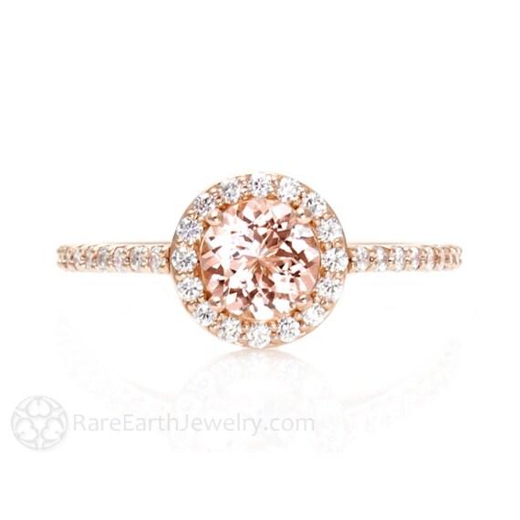 14K Morganite Engagement Ring Diamond Halo Rose Gold Custom Bridal Jewelry