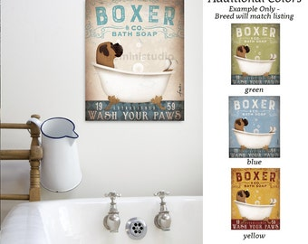 Boxer dog bath soap Company artwork on gallery wrapped canvas by Stephen Fowler