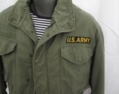 Army Field Jacket M 65 Vintage 70s Green coat Named soldier Cargo military coat S M