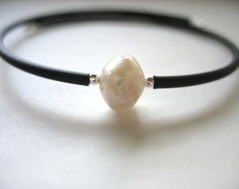 White Pearl, Pearl Bracelet, Handmade Cuff Bracelet, White Pearl Jewelry, luminous creation, Made in the USA