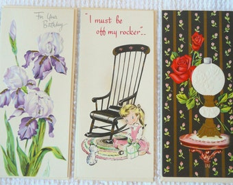 Vintage Set of 3 Tall Unused Birthday Greeting Cards from 1960's- Great images