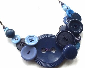 Big Bold Vintage Button Jewelry Necklace in Shades of Blue