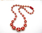 Galalith Beads Necklace, Art Deco Era 1930, Red Dots on Cream, 17 Inch Choker, Vintage Jewelry, Carved Beads, Valentine Jewelry