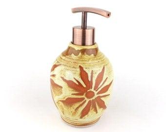 Soap / Lotion Dispenser - 16 oz.- Yellow with Terracotta Sunburst  / Handmade Wheel Thrown Pottery