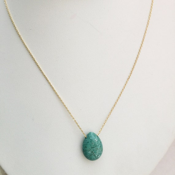 Turquoise Tear Drop Necklace Simple Genuine Gemstone & Gold