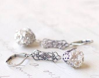 Art nouveau 1920s style earrings filigree antique stilver rhinestone flapper crystal bridal wedding