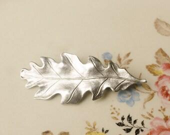 Oak leaf hair clip silver barrette antique style Victorian autumn hair accessory fall Thanksgiving copper brass