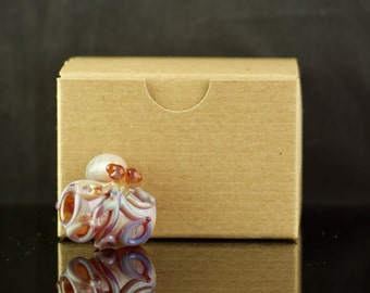 Octopus Dread Bead Hand Blown Full Color Glass in Amber Purple, Ready to Ship #446