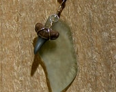Bottle Shard Sea Glass and SHARK TOOTH Leather Necklace, Nc2418, Beach Unisex jewelry, Teens, Graduation, Birthday by Lynn SRA