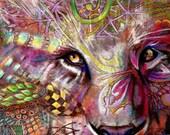 Verkauf original Kunst Farbe Bleistift Zeichnung 11 x 14 Löwe Gesicht Zentangle Motiv abstrakt