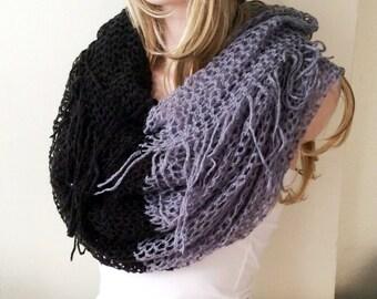 Mohair Knitting - Winter Scarf - Gray Scarf - Shawl Scarf -  Ruffle scarf, Cowl, black