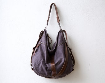 CITY SAFARI  -  convertible backpack - crossbody bag - canvas laptop bag - waxed canvas & leather - 'three in one'