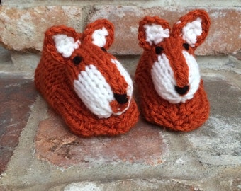 Animal Slippers Fox Slippers Fox Booties Foxy Slippers Forest Animal Slippers - Children's Knitted Slippers Made to Order
