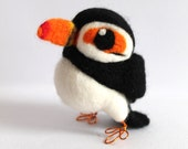 SALE Needle felted Puffin Bird Bempton the Puffin Real Bird Tweet