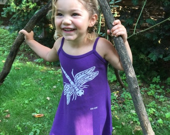 Girl's Purple Dragonfly Spaghetti Strap Dress
