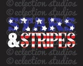 STARS & STRIPES, summer, 4th of July, Fourth of July, boy or girl shirt design SVG file for silhouette or cricut die cutting machine