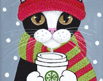 Winter Coffee Cat - Original Folk Art Painting