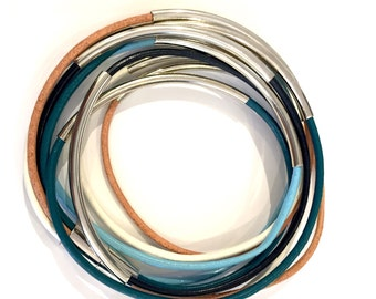 Island Mix light blue,white, tan, and teal Leather Double Wrap Silver Bracelet / Necklace with Magnetic Clasp trending statement piece
