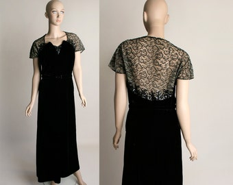 Vintage 1940s Black Velvet Dress - Sheer Lace Back and Sequined Bodice - I.Magnin - Medium