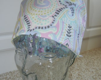 Tie Back Surgical Scrub Hat in Large Pastel Paisley