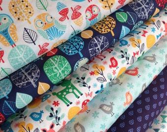 Owl Fabric, Deer Fabric, Tree fabric, Bird fabric, Acorn Forest fabric bundle by Robert Kaufman, Bundle of 6 fabrics, You Choose the Cut