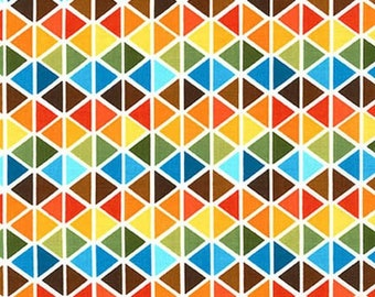 Triangle Fabric, Remix Fabric, Cotton Fabric, Geometric fabric, Boy fabric, Triangles in Bermuda- Choose your cut, Free Shipping Available