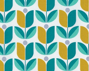 Floral fabric, Aqua fabric, Cotton Fabric by the Yard, True Colors fabric, Tulips in Aqua by Joel Dewberry, Choose your cut
