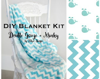 DIY Baby Blanket Kit, Beginner Sewing Kit, Quilt Kit, Double Gauze Fabric, Whale Fabric, Chevron, Baby fabric, Baby Gift,  Make it Yourself