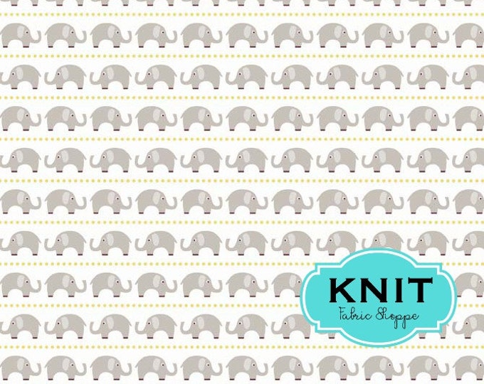 Stretch KNIT fabric, Oh Boy Fabric, Riley Blake, Jersey Knit, Legging fabric, Headband fabric, Stretch fabric- Elephant fabric in Gray