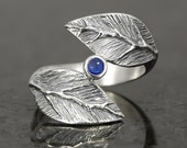 Blue sapphire cabochon sterling silver leaf ring  - elf pixie tribal boho
