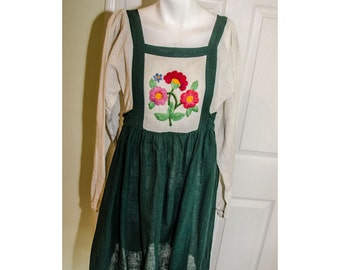 Vintage 1980' Embroidered Cotton Peasant Dress